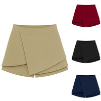 Solid Color Asymmetrical Overlap Slim Fit Skirt Shorts Culottes
