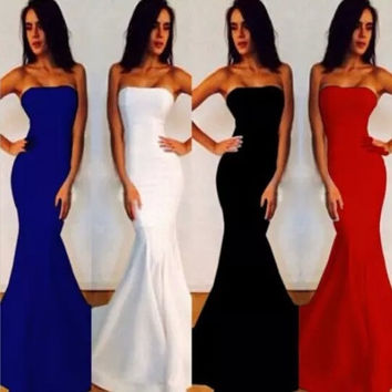 2014 Spring Prom Dress Long Evening Dress Formal Dresses Mermaid Evening Dress Strapless Cocktail Party Ball Gown