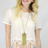 On the Fringe Short Sleeve Embroidered Fringe Top - White