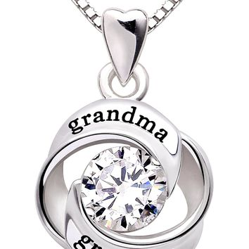 Jewelry Sterling Silver grandma and grandson Love Heart Cubic Zirconia Pendant Necklace