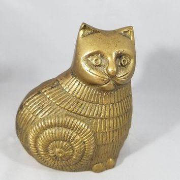 Mid Century Brass Cat.  Whimsical Cat Figurine.   Cat Lovers Gift.