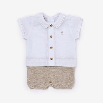 Paz Rodriguez Baby Boys' White and Beige Shortie