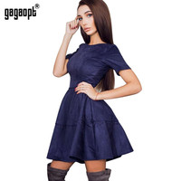 Gagaopt Summer Dress 2017 O-neck Short Sleeve Office Dress 3 Color Causal A-line Sexy Party Dresses Spring Jurken Vestidos