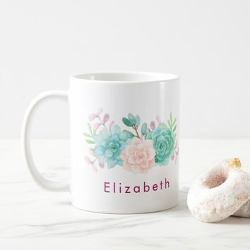 Pastel Pink & Green Floral Bouquet Coffee Mug