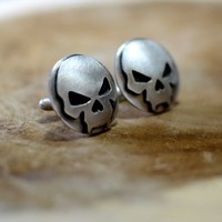 Bad ass skull cuff links in sterling silver