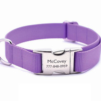 Lavender Webbing Dog Collar with Laser Engraved Personalized Buckle