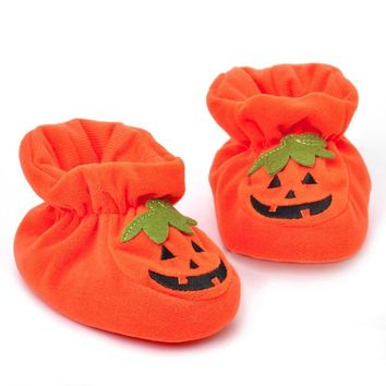Baby Boys Girls Shoes Cute Pumpkin Baby Boy Crib shoes Infant Winter Warm Cotton Toddl