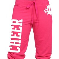 Juniors Capri Cheer with Star Sweats in Lots of Colors (Juniors Large, Red)