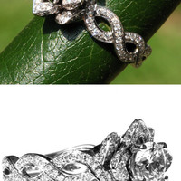 EVER BLOOMING LOVE - Diamond Engagement Flower Ring - Infinity - Gorgeous Unique Rose -Lotus - fL06