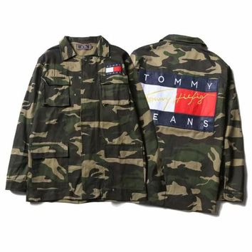Tommy Hilfiger Fashion Women Men Cool Long Sleeve Camouflage Denim Cardigan Jacket Coat