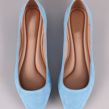 Breckelle Simple Vegan Suede Pointy Toe Flats
