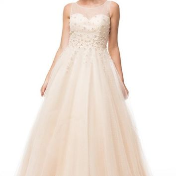 Sleeveless Embroidered with Crystals Tulle Ball Gown