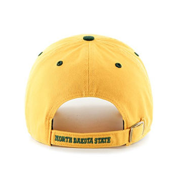 "North Dakota State Bison Yellow ""Clean Up"" Adjustable Cap - '47 Brand NDSU NCAA Relaxed Fit Baseball Hat"