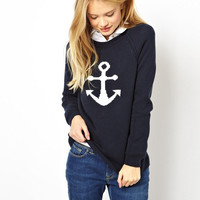 Black Big Anchor Print Sweater