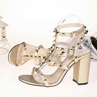 Valentino Women Fashion Simple Casual  High Heeled Sandals Shoes
