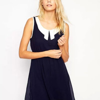 Sleeveless Peter Pan Collar Chiffon A-Line Dress