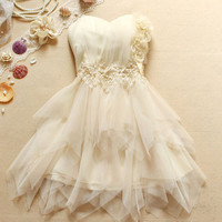 Homecoming dress White Sleeveless Knee-length Chiffon Pleated Elegant Dress Cocktail/ Evening Dresses/Wedding dress