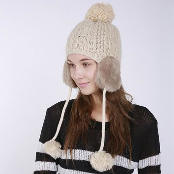 Winter Hat For Women Pom pom Beanie Warm Knitted Skullies Beanies Ear Flap Hats Fashion Ladies Woolen Crochet Cotton Knit Caps