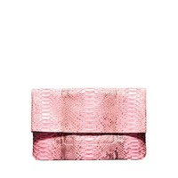 Michael Kors Janey Python Clutch - Pink Foldover Bag - ShopBAZAAR