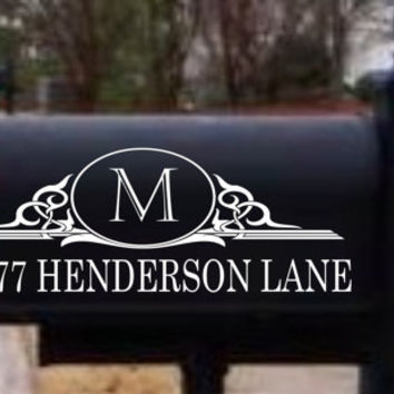 TWO Monogram Mailbox Decals Easy to apply. Many colors available. Long life. Commercial grade. Makes a great wedding or housewarming gift
