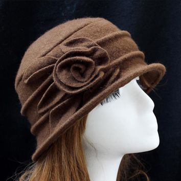 Fashion Vintage Women Wool Church Cloche Flapper Hat Lady Bucket Winter Flower Hat
