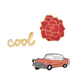 Trendy Vintage cool Classic Car Rose Flower Brooch Pins Button Pins Denim Jacket Pin Badge for Bags Cartoon Fashion Simple Jewelry Gift AT_94_13