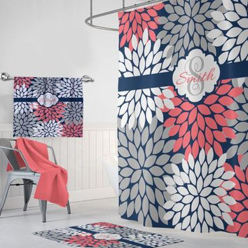 Flower Navy Coral Gray SHOWER CURTAIN, Flower Bathroom Decor, Custom MONOGRAM Personalized, Floral Bathroom Decor, Bath Towel Plush Bath Mat