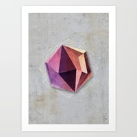 Mineral Hexagon Art Print by Cafelab