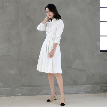 white dress women,shirt dress,tunic dress,white shirt dress,white dresses for women,details at waist.elegant dress,knee length dress.--E0752