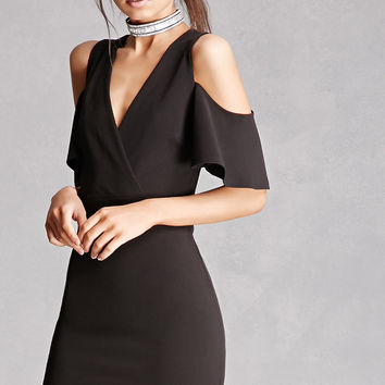 Surplice Open-Shoulder Dress