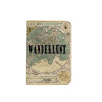 Wanderlust Vintage World Map [Name Customized] Leather Passport Holder - Leather Passport Cover - Travel Accessory- Travel Wallet for Women and Men_SCORPIOshop