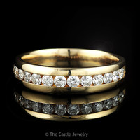 Men's 14k Yellow Gold 1cttw Channel Set Round 14 Diamond Row Wedding Band