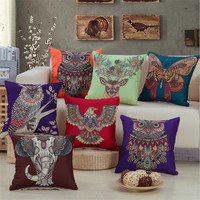 Brief Creative animal owl/elephant printing 45x45cm Home/Office/Sofa/Bed Decorative Cushion/Throw Pillow(Not Contain Filling)