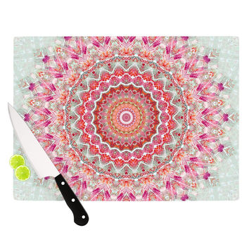 "Iris Lehnhardt ""Summer Lace III"" Circle Pink Green Cutting Board"