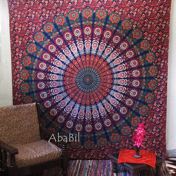Queen Hippie Tapestry, Blue Large Indian Mandala Bedspread Tapestry Bohemian Hippie Wall Hanging Home Decor Art