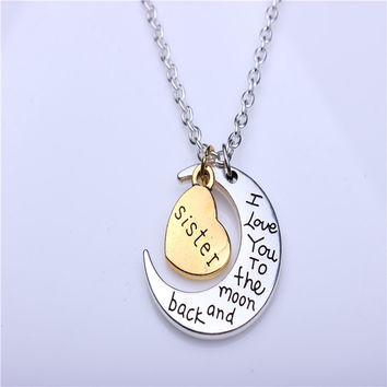 Hand stamped I Love You to the Moon and Back Charm Necklace Silver Gold sister +Gift Box