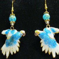 Parrot Earrings Cloisonne, Double Sided Puffed, Blue, Handcrafted