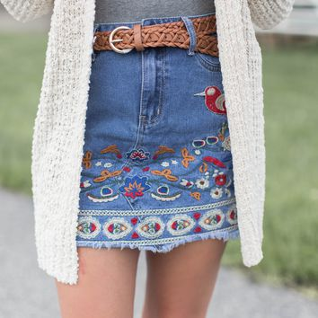 Embroidered Denim Skirt, Denim