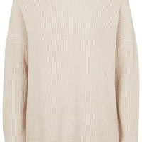 TALL Ribbed Side Split Sweater - Stone