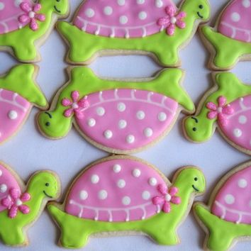 PREPPY TURTLE Sugar Cookie Party Favors, 1 Dozen