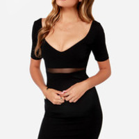Don't Mesh Around Black Midi Dress