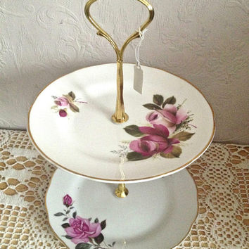 Vintage pink red two tier cake jewelry stand, staffordshire montfort red pink rose, perfect for afternoon tea parties and weddings. VBB186
