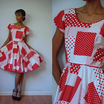 Vtg Mixed Polka Dots Red White Retro SS Square Dance Dress