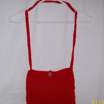 Crocheted Shoulder Purse With Button, Handmade, Fashion Bags