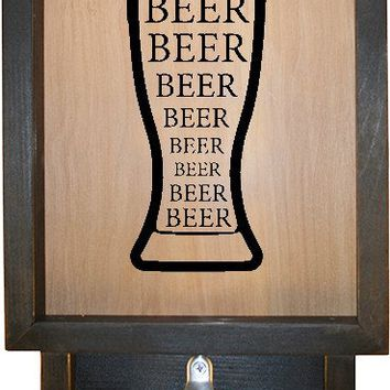 "Wooden Shadow Box Bottle Cap Holder with Bottle Opener 9""x15"" - Beer in Glass"
