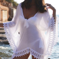 Stylish V-Neck Lace Splicing 3/4 Sleeve Cover-Up For Women