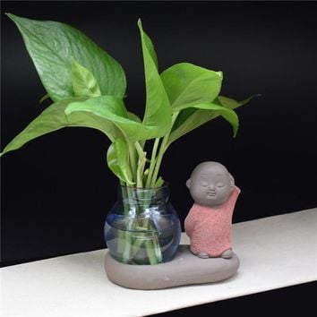 Little Monk Decoration Chinese Style Glass Flower Vase