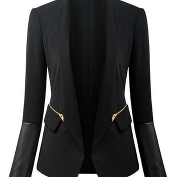 Black Zippered Pocket Design Shawl Neck Blazer