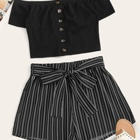 Button Front Bardot Top & Stripe Belted Shorts Set