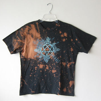 HIM Heartagram Bleach Splattered Rock Music T-Shirt from 2007